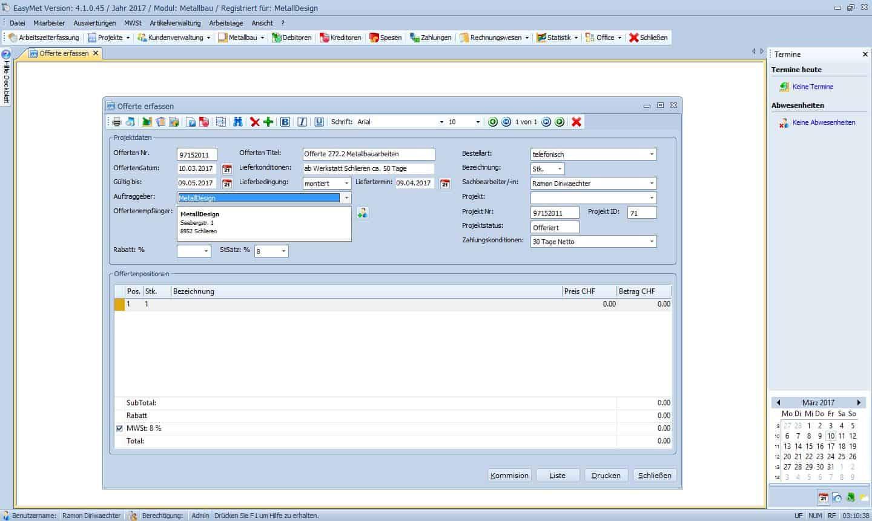 EasyMet, die Software für Handwerker / Offertenformular